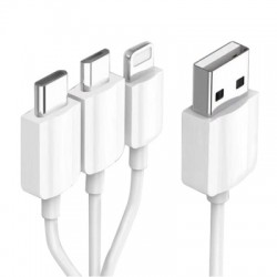 20cm USB 2.0 High Speed to Type-C / 8 Pin / Micro USB 3 in 1 Charging Cable