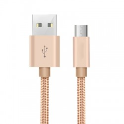 2M Micro USB Pure Color Woven Data  Cable  Earthly Gold For Android