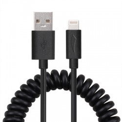 MFI Data Sync and Charge Lightning to USB Coiled Cable with 8 Pin Interface