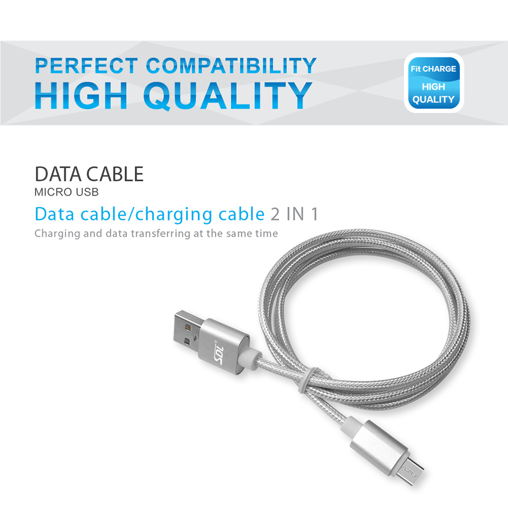 SDL Micro USB 2 in 1 Data Charging Cable - 1M
